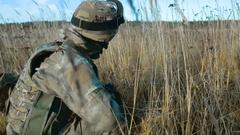 Ukrainian soldier takes aim Stock Footage