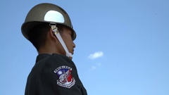 4K Taiwanese soldier guard at National Shrine of Martyrs of the Revolution-Dan Stock Footage