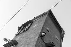 Black and white shot of an italian house Stock Photos