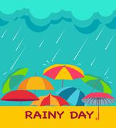 Background with clouds, raindrops and umbrellas, Stock Illustration