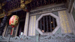 4K Dragon lantern decoration near to beautiful Window of Longshan Temple -Dan Stock Footage