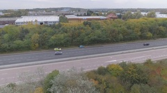 Police Leaving the Scene of an Accident on a Motorway Stock Footage