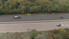 Reveal Shot of Police Attending Accident on M6 Motorway Stock Footage