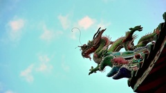 4K Statue Of A Chinese Dragon Over the Roof at Longshan Temple in Taipei-Dan Stock Footage