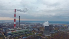 Heavy industry area, industrial zone. Aerial bird eye view. Smoke coming from Stock Footage