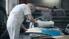 Master works with a grinding machine. Stock Footage