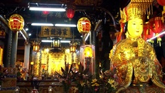 4K Wide Shot of altar of the goddess Matsu at Shilin Temple in Taipei City-Dan Stock Footage