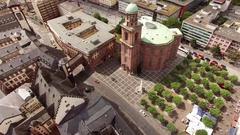 Frankfurt St. Paul's Church - Paulskirche Aerial 4k Footage Stock Footage