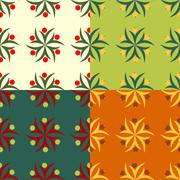Abstract symbolic seamless patterns with berries Stock Illustration