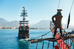Walking tour on pirate ship in open sea in Alanya Stock Photos
