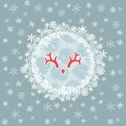 Christmas and New Year round frame with deer horns symbol. Greeting card. Stock Illustration