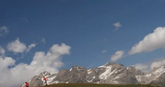 Two Women Running in Mountains. Stock Footage