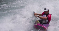 Kayaker Surfing the Raps. Stock Footage