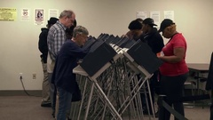 Voters at terminals to cast early ballots in Toledo 2016 presidential election Stock Footage