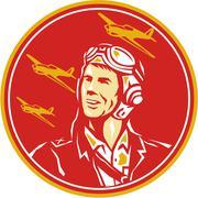 World War 2 Pilot Airman Fighter Plane Circle Retro Stock Illustration