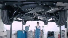 A man inspects the car bottom. Stock Footage