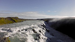 Aerial drone view in Gullfoss, Iceland Stock Footage