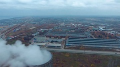 Aerial view of a large industrial complex, huge warehouse Stock Footage
