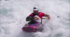 Kayaker paddling White Water in Kayak having Fun and Smiling. Stock Footage