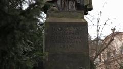Karlovy Vary Karl 4 Monument. Stock Footage