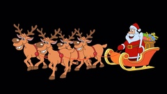 Christmas sleigh with reindeer and Santa Claus. Stock Footage