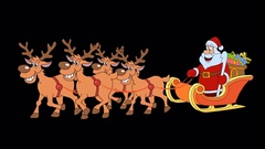 Christmas sleigh with reindeer and Santa Claus.  Arkistovideo
