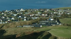The coastal town of Gardenstown on the North East Aberdeenshire coas Stock Footage