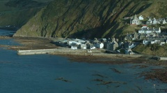 View of a Gardenstown, Aberdeenshire Stock Footage