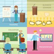 Set of Business Education Concepts in Flat Design Piirros