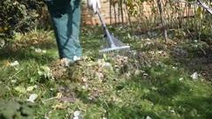 Gardener kills forks green grass Stock Footage