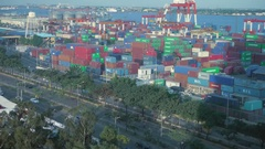 Time lapse of Cebu port area container yard Stock Footage