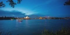 Sunset Blue hour at Sydney Harbor Bridge and Opera House Stock Footage