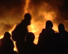 Burning barricades on Maidan Stock Footage