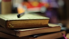 On The Table Are Different Notebooks For Business Recording in Ukraine Stock Footage