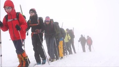 Training in difficult mountain conditions. Motivation. Stock Footage