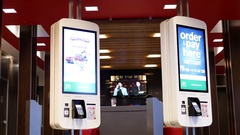 Motion of self check out machine at Mcdonalds with 4k resolution Stock Footage
