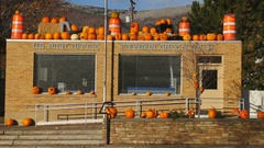 Zoom out-Morning after Halloween local pranksters have post office decorated Stock Footage