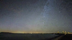 Beautiful Star Trails over Lake near the Highway. Stock Footage