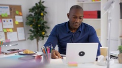 4K Business entrepreneur working in home office & making video call on laptop Stock Footage