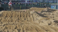 Tourists watching Motocross Racing at Margate Beachcross Stock Footage