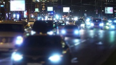 Night City traffic. Ambulance with emergency lights to the rescue Stock Footage