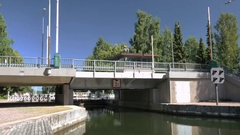 Time lapse of canal bridge open and close to let boat traffic through Stock Footage