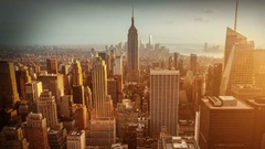 Aerial view of Manhattan skyline. Vintage style. Sunset. Zoom out. Time lapse. Stock Footage