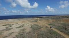 4K aerial of  Seru Bentana Lighthose on Bonaire Stock Footage