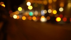 Blurred night city trafic. Outfocused cars. Minsk, september 2016 Stock Footage