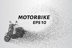 The motorbike of the particles. The motorbike breaks down into small circles  Stock Illustration