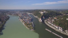 Passau City in Germany Aerial Overview Stock Footage