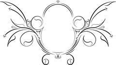 Unusual decorative floral oval black vector frame. Stock Illustration