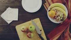 View of prepearing plate with fruits Stock Footage