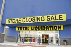 Bankruptcy Liquidation Sale Blue Stock Photos